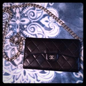 Chanel Caviar tri-fold wallet with chain